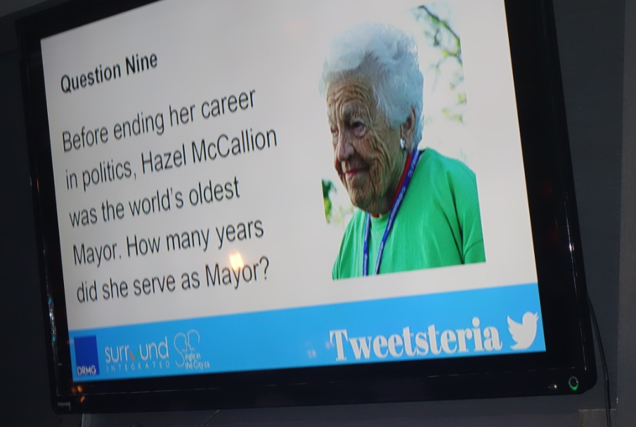 Hazel McCallion trivia question during Tweetsteria Mississauga