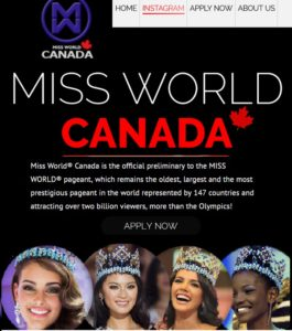 2017 Miss World Canada website homepage