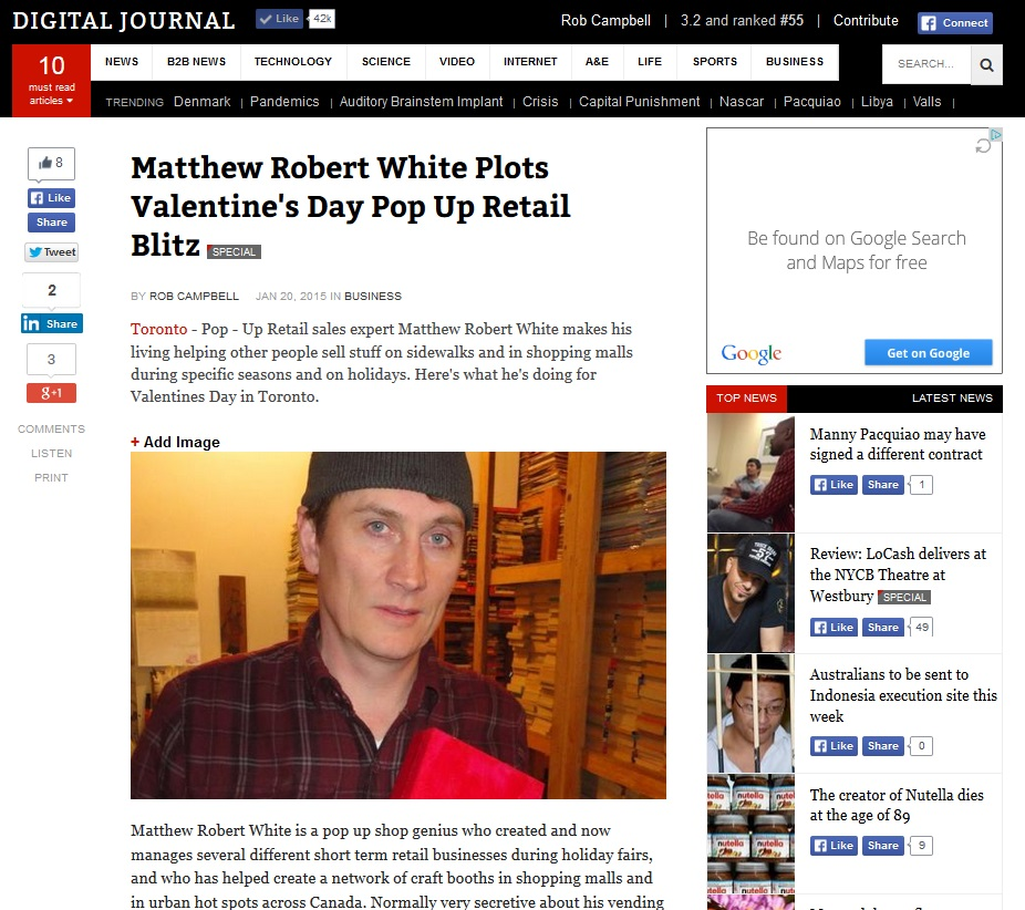 Matthew Robert White on Digital Journal